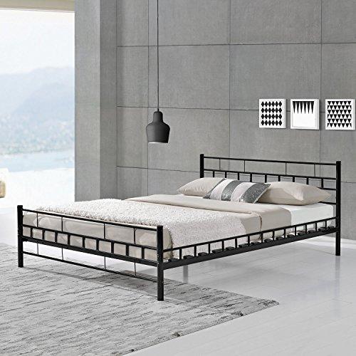 """Metallbett """"Malta"""" - schwarz oder weiß - 140 oder 180 cm breit"""