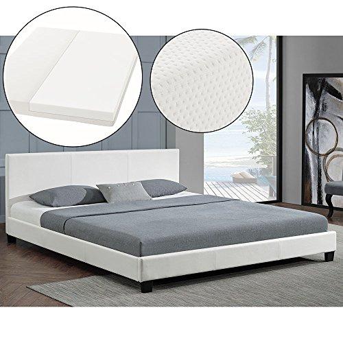 "Polsterbett ""Barcelona"" - 160 x 200 cm - weiß mit Lattenrost & Kaltschaummatratze"
