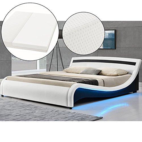 Polsterbett Malaga 180 x 200 cm LED Seitenteilen - weiß mit Kaltschaummatratze | ArtLife