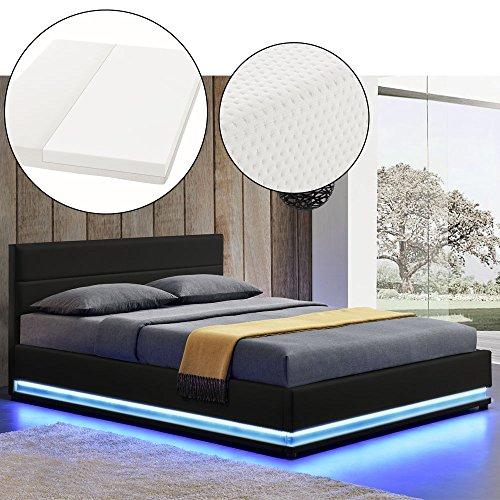 polsterbett toulouse 180 x 200 cm schwarz mit lattenrost kaltschaummatratze gelschaum. Black Bedroom Furniture Sets. Home Design Ideas