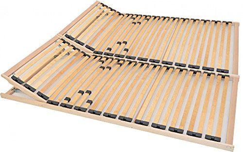 2x7-Zonen-Lattenrost 90x200 cm, fertig montiert, patentierte Klappscharnier Technik, mit individueller Kopf- und Härtegradverstellung