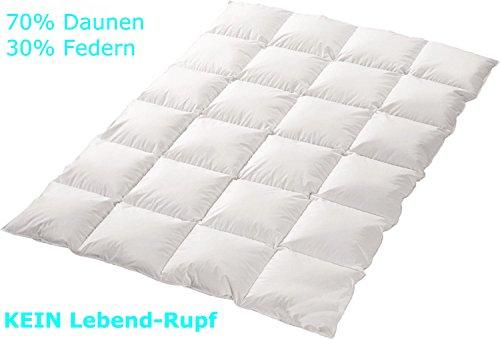 """4-Jahreszeiten 70%-Daunen-30%-Federn-Bettdecke """"Trautesheim"""" gesteppte Kassetten Daunen Decke in 135x200cm mit 1100g Füllung - Wärmestufe 3 bis 4 - Bezug 100% Baumwolle - KEIN LEBEND-RUPF"""