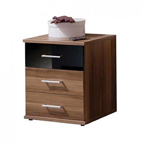 ADTRAD GAMMA Nussbaum & Schwarz Hochglanz–3Schubladen Nachttisch–Deutsch Made Qualität–Modernes Metall Griffe–flach verpackt zur Selbstmontage