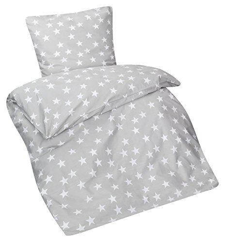 Aminata – Bettwäsche Baumwolle + Reißverschluss Sterne Grau Hellgrau Weiß | Verschiedene Größen | Bettbezug Sternchen Stars Kinderbettwäsche Anthrazit Bettwäscheset Bezug Ganzjahr Jungen Mädchen