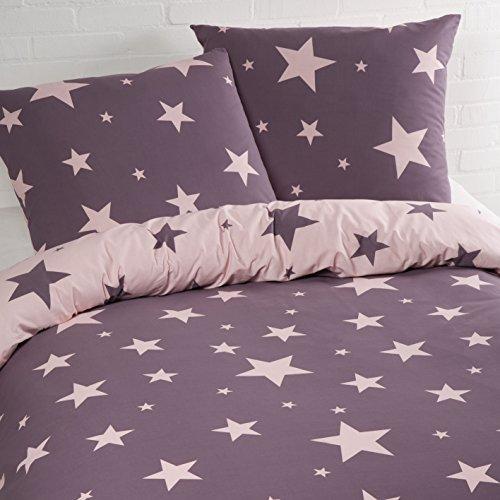 Aminata – Bettwäsche Sterne 135x200 cm Baumwolle + Reißverschluss zum Wenden Sternenmotiv Sternchen Stars Schwarz Weiß Lila Rosa Violett Anthrazit Grau Wendebettwäsche Bettwäscheset Jungen Mädchen