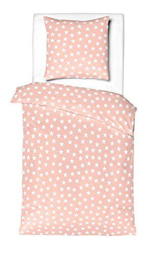 Aminata Kids – Süße 2-Teilige Kinder Bettwäsche mit Sternen | Verschiedene Größen | Baumwolle + Reißverschluss | Sternchen-Motiv in Rosa & Weiß | Bettwäsche Garnitur Ganzjahr | Mädchen Bettbezug