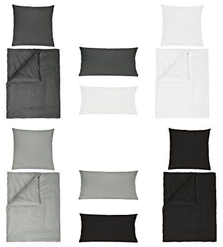 Baumwolle Renforce UNI Bettwäsche 2 teilig 155x220 + 80x80 cm mit Reißverschluss in 4 Farben