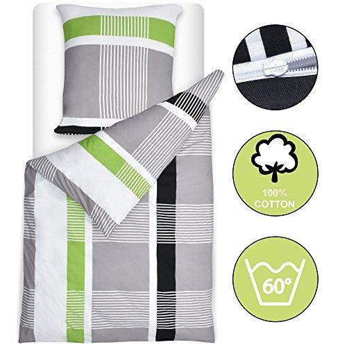 Beautissu Bettwäsche 135x200 oder 155x220 cm Dana - gestreift mit Reißverschluss 100% Baumwolle - Bettbezug mit 80x80 cm Kissenbezug
