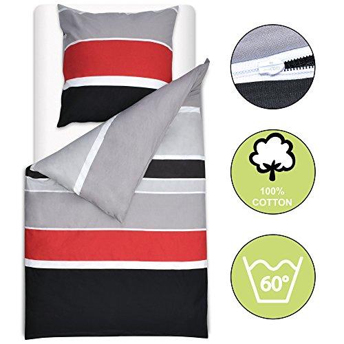 Beautissu Bettwäsche 135x200 oder 155x220 cm Delia - gestreift mit Reißverschluss 100% Baumwolle - Bettbezug mit 80x80 cm Kissenbezug