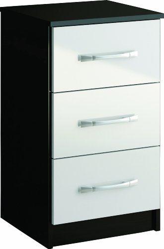 Birlea Furniture Ltd Lynx Nachttisch 3 Schubladen 69x40x38 cm Furnier Hochglanz 1 Stück Schwarz/Weiß