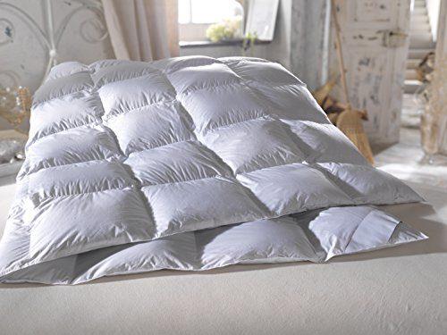 Daunen Decken mit weißer Baumwolle-Biese HOCHWERTIGE KASSETTEN DAUNEN BETTDECKE (135x200 cm)
