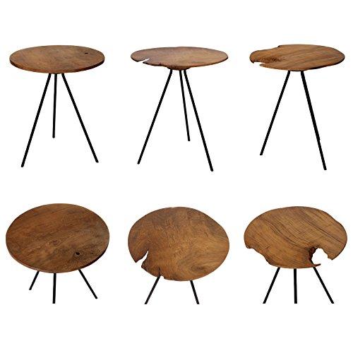 Design Beistelltisch Couchtisch Tisch Teakholz Eisen Holz Teak Rund Braun Metall Vintage Massiv Edel Brillibrum Flyer