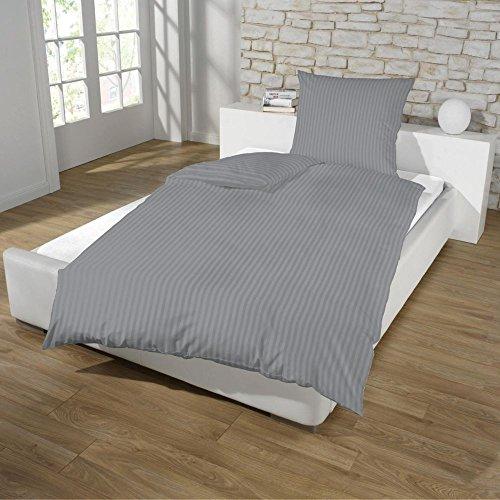 Dreamhome24 Hotel Damast Luxus Satin Baumwolle Bettwäsche 135x200 + 80x80 Kissenbezug Reißverschluss od Hotelverschluss