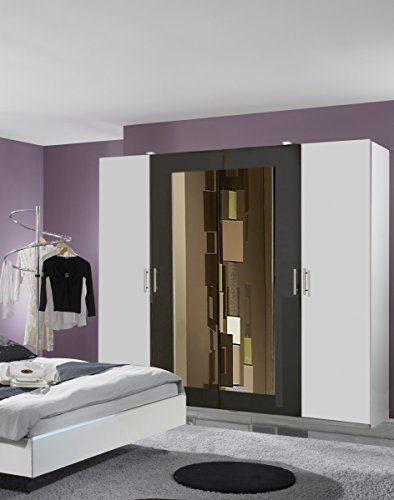 Dreams4Home Drehtürenschrank 'Cult', Schlafzimmer, Schrank, weiß, graphit, schwarz, Kleiderschrank, 2 Spiegel, Spiegelschrank