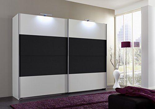 Dreams4Home Schwebetürenschrank 'Cult', Schlafzimmer, Schrank, weiß, graphit, schwarz, Kleiderschrank