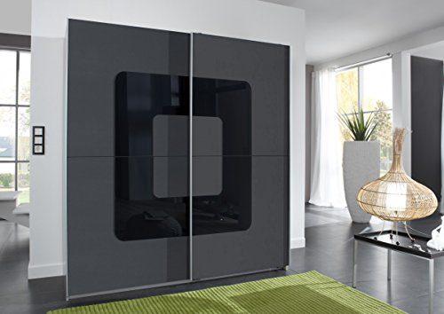 Dreams4Home Schwebetürenschrank 'Loop IV', Schlafzimmer, Schrank, graphit, Alu, schwarz, Schwebetürenschrank, Kleiderschrank