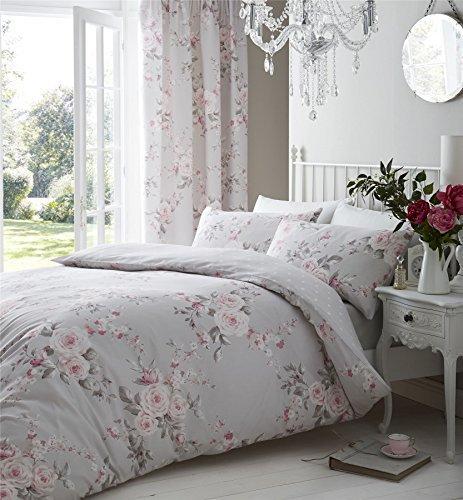 Grau Pink Rose Floral Bettwäsche Baumwolle-Mischgewebe reversibel Tröster Single Cover