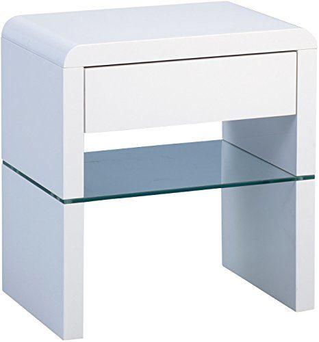 HomeTrends4You Nina Beistelltisch/Nachttisch, Holz, MDF weiß hochglanz, 50 x 35 x 55 cm