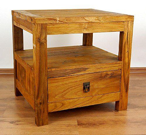 Java Nachtschrank aus Teakholz | Asiatischer Beistelltisch aus Massivholz | Kommode der Marke Asia Wohnstudio (Handarbeit)