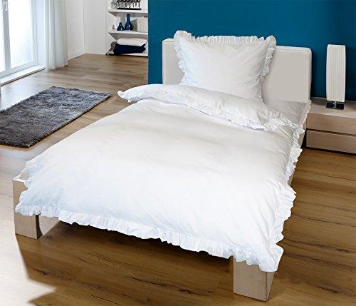 Krollmann 2-tlg. Bettwäsche Set Rüschen mit Reißverschluss aus 100% Baumwolle, Deckenbezug 135x200cm, Kissenbezug 80x80cm, Vintage-Stil Retro Style