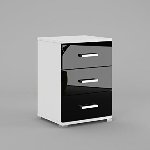 Labi Möbel N3 3x Schubladen Schrank Kommode Nachttisch Nachtschrank Nachtkonsole Weiß Matt Schwarz Hochglanz