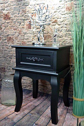 Livitat® Nachttisch Nachtschrank Nachtkonsole Nachschränckchen Nachtkommode Schwarz barock