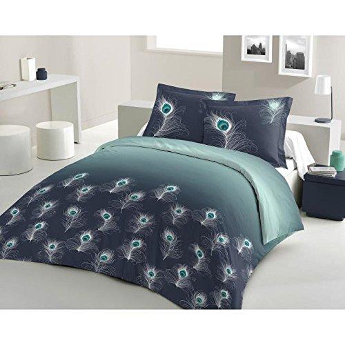 Lovely Home Bettwäsche Baumwolle Peacock–1Bettbezug 220x 240cm + 2Kopfkissenbezüge 65x 65cm, marineblau