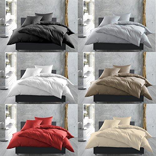 Mako-Satin Baumwollsatin Bettwäsche uni einfarbig zum Kombinieren