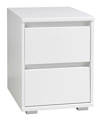 Nachtkommode Nachttisch Nachtschrank IDOLA 5 | Weiß Hochglanz | 2 Schubladen