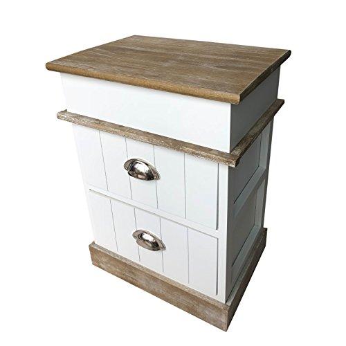 Online-Fuchs Nachttische weiß im shabby look aus Holz gefertigt inkl. 2 Schubladen - 52 cm hoch