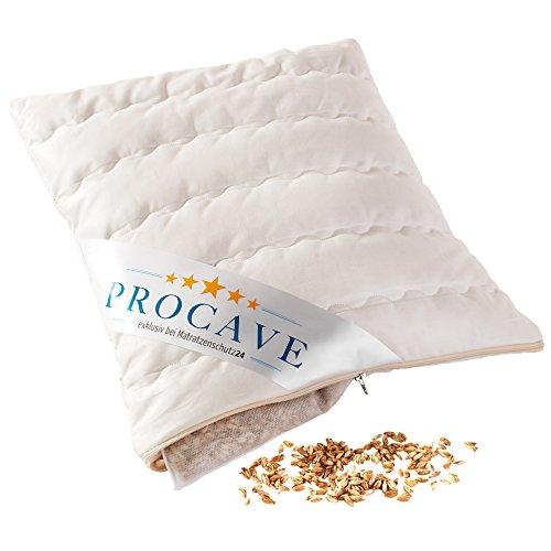 PROCAVE Dinkel-Kissen mit abnehmbarem waschbarem edlen Komfort-Bezug aus Baumwolle mit Reißverschluß | Made in Germany