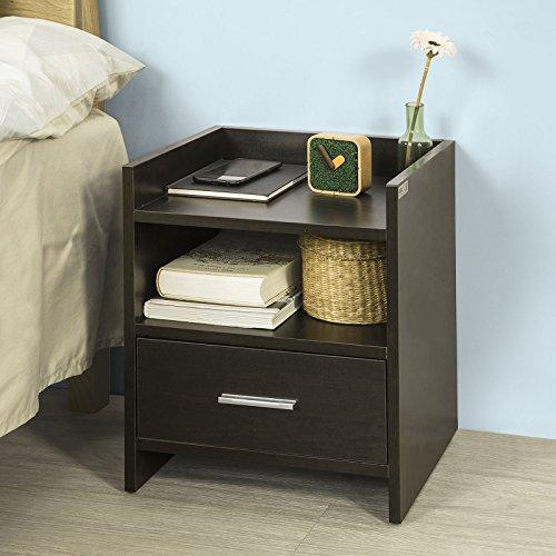 SoBuy FBT66-BR Nachttisch Nachtschrank Beistelltisch mit 1 Schublade und 2 Ablagen, BHT ca.: 38x45x35cm