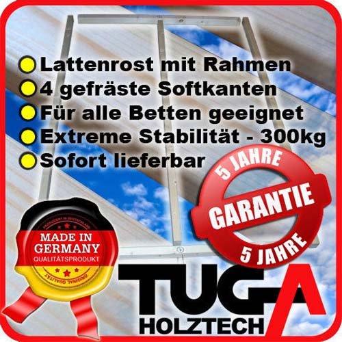 TUGA-Holztech Lattenrost 100x200cm 300Kg bestehend aus Rollrost und passendem Rahmen