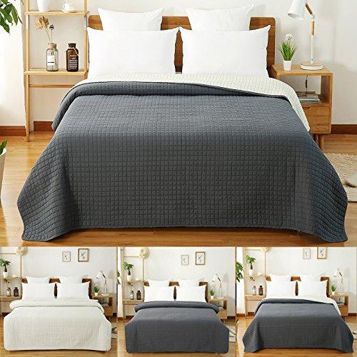 WOLTU 673, Tagesdecke Bettüberwurf Steppdecke Patchwork Flanelle Wendedesign Kariert, Bettdecke Stepp Decke Doppelbett unterfüttert und Gesteppt