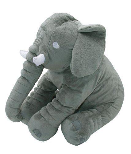 """ZOLLNER® weiches Babykissen / Schlafkissen / Kuschelkissen / Schmusekissen / Lendenkissen als Elefant, grau, ca. 1000 g/qm leicht, Größe ca. 55x30x45 cm, Serie """"Benny"""""""