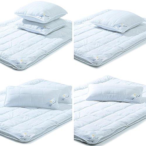 aqua-textil Soft Touch Betten Set 4 Jahreszeiten Decke Bettdecke Mikrofaser Bettdecken Kissen Kopfkissen