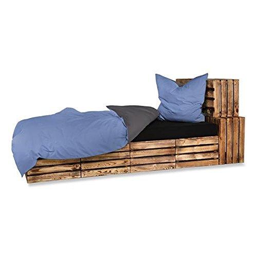 optidream 4-Teilige hochwertige Renforcé-Bettwäsche UNI-WENDE in anthrazit/silber 2 x 135x200 Bettbezug + 2 x 80x80 Kissenbezug, 100% Baumwolle