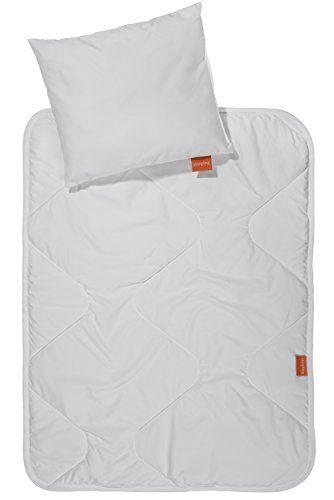 sleepling 190203 Basic 100 2 tlg. Set Kinderwagen/Babywagen Decke und Kissen 60 x 78 cm + 30 x 35 cm, Weiß