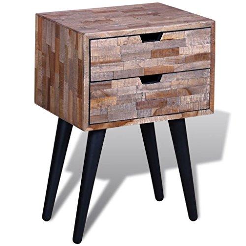 vidaXL Nachttisch mit 2 Schubladen Wiederverwendetes Teak