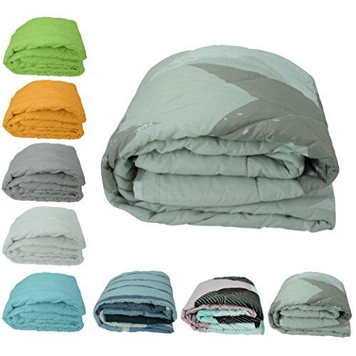 wometo federleichtes Sommer-Steppbett, 135x200, für CAMPING / SOMMER, OekoTex 100, ca. 700g Bettdecke in frischen Farben grün beige türkis orange und weiß -