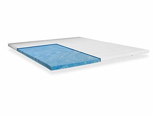 Topper mit GELAX® Matratzenauflage Gelschaum Topper mit 7cm Gesamthöhe und Raumgewicht RG 50 mit Gelax Platte Bezug Waschbar 180 x 200 cm