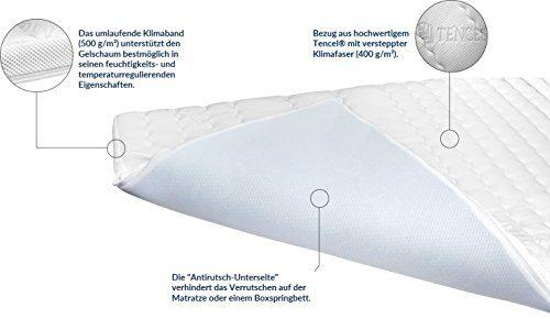 AM Qualitätsmatratzen 8 cm hoch - Premium Plus Gelschaum-Topper 140x200cm mit RG 50 - Hochwertiger Tencel-Bezug - Antirutschfunktion - Umlaufendes Klimaband - Gel-Topper 140 x200 8cm