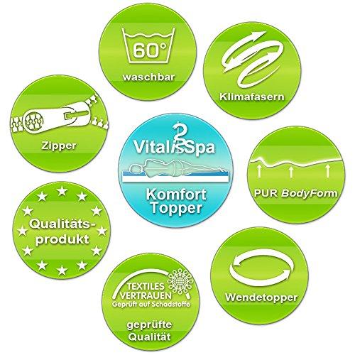 VitaliSpa Gel Schaum Topper Matratzenauflage Visco viscoelatische Auflage Matratzentopper (Pur 340 Topper, 160x200)