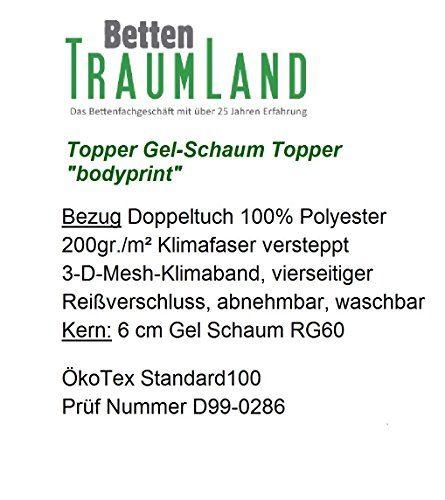 Bodyprint Plus - Gel-Schaum Topper Matratzenauflage - direkt vom BETTEN FACHGESCHÄFT - 8 cm Gesamthöhe Raumgewicht RG 60 mit Klimaband und Stegkanten 90x200 cm