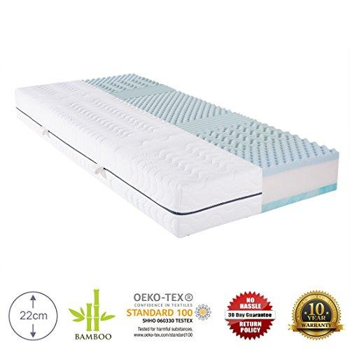 Cr orthopädische Kaltschaum-Matratze mit 7 Zonen, 120x200x22cm, doppelseitige 2 in 1 Bett-Auflage mit Bambus-Bezug, zum Wenden mit drei Schichten Härtegrad H3-H4, waschbar bis 40 Grad, OEKO-TEX® 100 zertifiziert