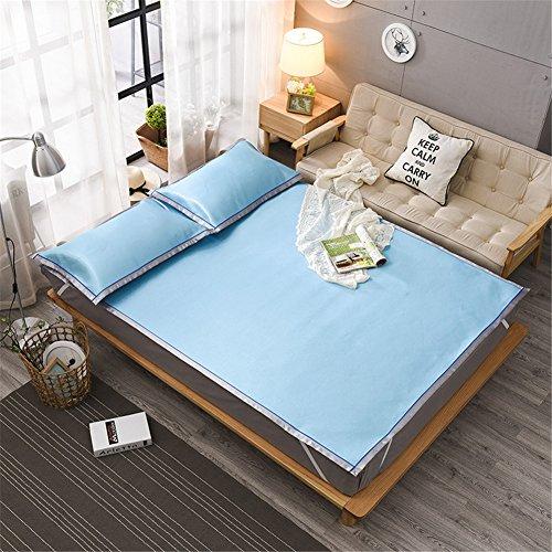 JQPQ Sommerkühlung Matratze Bett Toppers Klimaanlage Matratze Maschine Waschbar,Blue,Queen