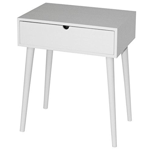 KMH, Beistelltisch/Nachttisch Mango weiß mit Schublade in Modernem, skandinavischem Design (#800074)