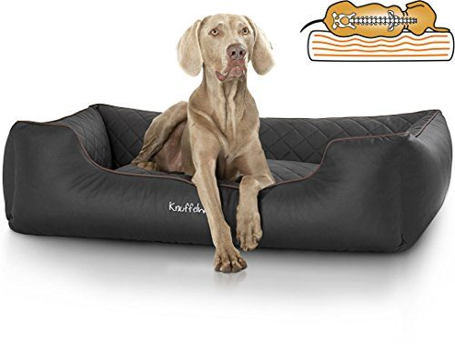 Knuffelwuff 13979-005 Orthopädisches Hundebett, Hundekissen, Hundesofa, Hundekorb, Madison aus Laser gestepptem Kunstleder, 120 x 85 cm, XXL, schwarz