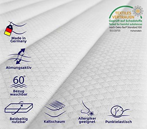 Mister Sandman 7 Zonen Kaltschaummatratze Made in Germany, Matratze mit Härtegrad H2&H3 (Öko-Tex 100 Zertifiziert, Bezug Waschbar bis 60 Grad, Rollmatratze) (140 x 200 cm)