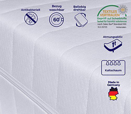 Mister Sandman 7-Zonen Matratze, Härtegrad H2 H3 (Weiß), Kaltschaummatratze, Rollmatratze, Doppeltuchbezug Waschbar, 3-Seiten-Reißverschluss, Öko-Tex Standard100